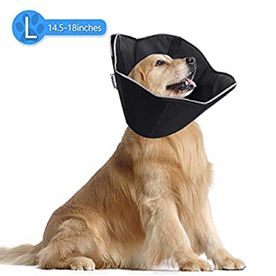 FOCUSPET Dog Cone Collar for Surgery, Pet Recovery Collar for After Surgery, Dogs & Cats Soft Large Size (14.5-18inches) Recovery Collar Protective Collar for Large Dogs Wound Healing