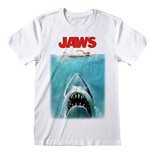 Official Jaws Movie Poster T-shirt for Men, S tom 5XL