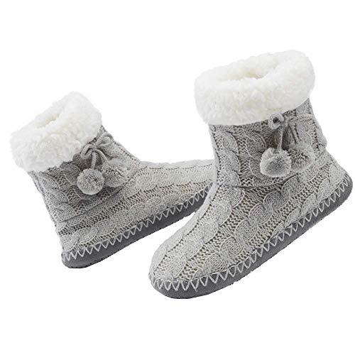 MaaMgic - Mujer Zapatillas Pantuflas Antideslizante de Invierno, como Casa Botas Extra Cálido,Gris 2,40/41EU