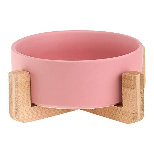 HCHLQLZ Pink Keramik Hundenapf Futternapf Fressnapf Napf für Hund Katzen mit Massivholz Ständer