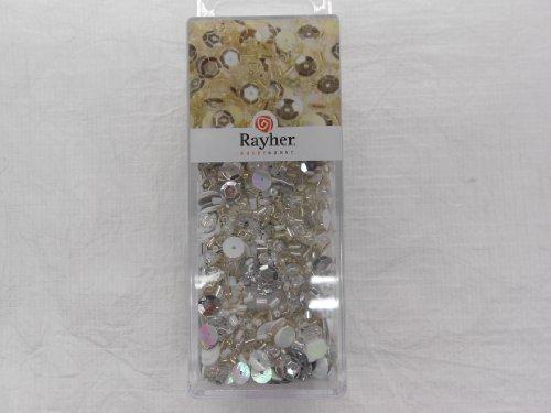 Rayher Mix paillettes et perles en verre + fil argent 80g mix et fil 50mx0 3mm