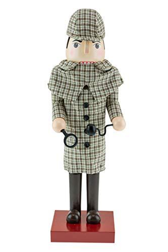 Clever Creations - Cascanueces de Navidad - Figura Decorativa Tradicional de Madera - Sherlock Holmes - con Abrigo Tweed inglés Tradicional de Color marrón, una Lupa y una Pipa - 35,5cm