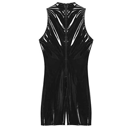 YOOJIA Men's One Piece Wet Look Sleeveless Leotard Bodysuit Skin-Tight Zipper Jumpsuit