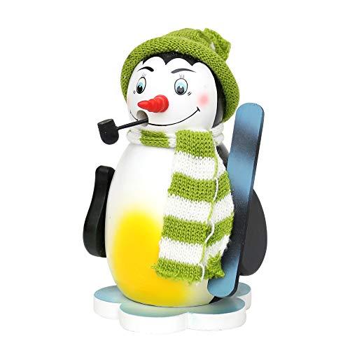 Dekohelden24 Farbenfrohe Räucherfigur Pinguin auf Eisscholle mit Schal, in leuchtendem Hellgruen, ca. 16 cm