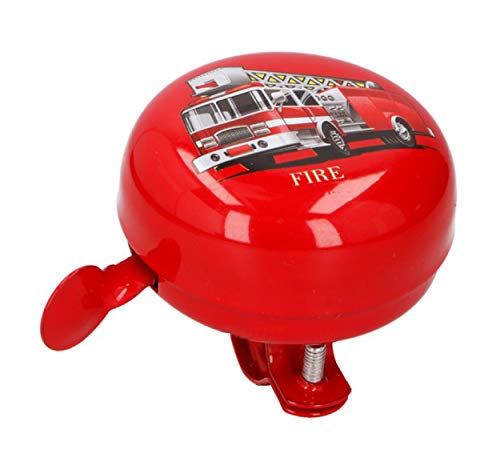 Anik-Shop FAHRRADGLOCKE Fire für Kinder Rot Feuerwehr mit Lenker Halterung Fahrradklingel Fahrrad Klingel Glocke 02