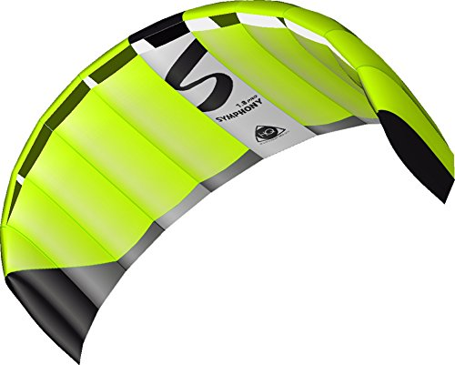 HQ 11769660 - Symphony Pro 1.8 Neon Grün Zweileiner Lenkmatten, ab 12 Jahren, 60x180cm, inkl. 100 kp Dyneemaschnüre 2x25m auf Winder mit Schlaufen, 2-6 Beaufort