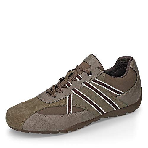 Geox Uomo Basso RAVEX, Uomini Sneaker,Scarpe Sportive,Sneaker,Scarpa Stringata,Traspirante,Dove Grey/Dk Brown,45 EU / 10.5 UK