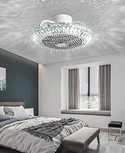 Bustling world Ceiling Fan with Lights 20 '' LED bladeless Ceiling Fan with Remote Crystal Chandelier Fans, 3-Color Lighting 3 Speed Invisible Blades Semi Flush Mount Low Profile Fan
