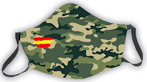 Mascarilla reutilizable bandera de España camuflaje verde estampado...