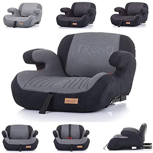 Chipolino Kindersitz Sitzerhöhung Trono Isofix Rückenlehne Gruppe 3 (22-36 kg), Farbe:dunkelgrau