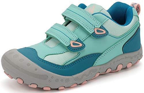 Trekkingschuhe für Kinder Wanderschuhe Jungen Mädchen Mit Schnellverschluss Atmungsaktive Schuhe rutschfest Laufschuhe für Outdoor,Türkis,35 EU