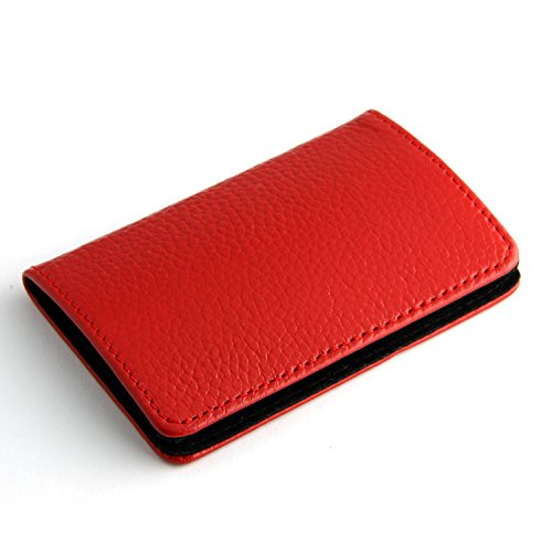 Partstock(TM) High Quality Genuine Leather & Stainless steel Business Name Card Holder Wallet Luxury Smooth Cowhide Leather Credit card ID Case / Holder 22 Name Cards Case For Women & Ladys with Magnetic Shut.(Red)