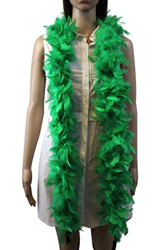 Flydreamfeathers 45 Gram, 6 Feet Long Feather Boa, Great for Party, Kids Party, Halloween Costume, Christmas Tree, Decoration (Green)