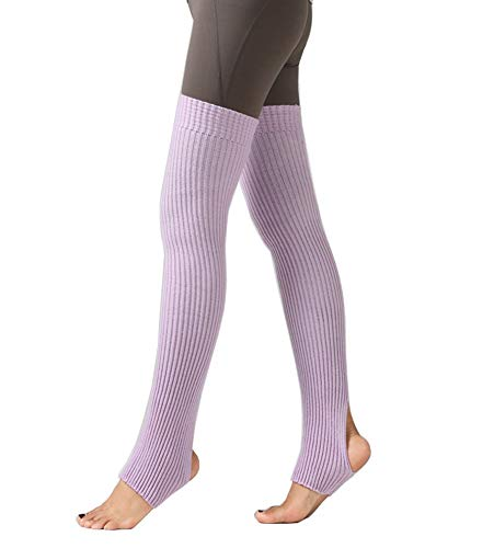 CHUNG Women's Over Knee Thigh High Warm Leg Warmers Stirrup Thermal 80s Long Socks Yoga Ballet Dance-Lavender