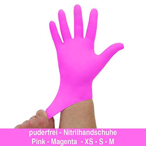 Nitrilhandschuhe kräftiges Pink Magenta, Einmalhandschuhe, Einweghandschuhe, 100 Stück, Größe S