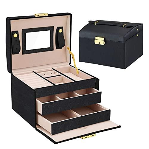 HebyTinco Caja Joyero Caja de Joyas, Cofres para joyas 3 Niveles Jewelry Organizer para Mujer , Organizador de Joyas, para anillos, pendientes, collares y pulseras (Negro)
