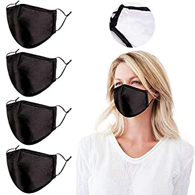 4 Packs Double-Sided Satin Silk Face Mask for Women, 3D Shape Reusable Adjustable Breathable Cloth Fabric, Gift for Women