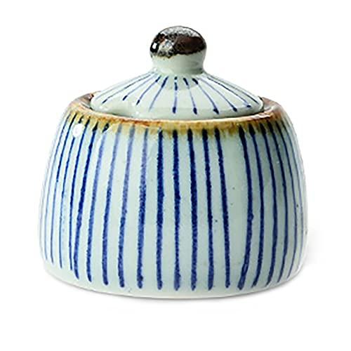 Pintado a mano de cerámica sabor taza especias tarro con tapa cuchara condimento caja condimento ollas especias para cocina restaurante
