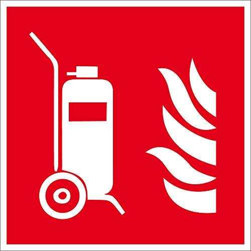 Brandschutzzeichen - Fahrbarer Feuerlöscher - Aluminium Selbstklebend - 20 x 20 cm