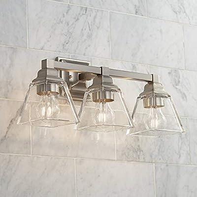 "Mencino Modern Wall Light Satin Nickel Hardwired 20"" Wide 3-Light Fixture Clear Glass for Bathroom Vanity - Regency Hill"