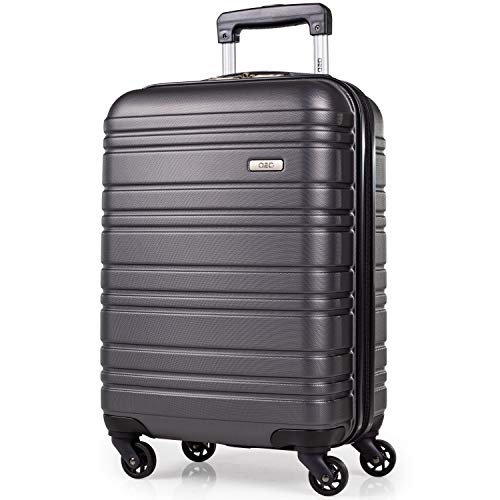 ABS Hard Shell 21 Inch Suitcase - Travel Luggage by A2B with 4 Spinner Wheels | Telescopic Drag Handle | Hard Sided Suitcases Lightweight Fits into Cage 56x45x25 (Grey, Small)