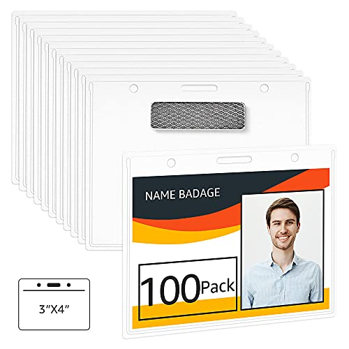 Amazon Basics Horizontal Magnetic Badge Holder - Pack of 100, Clear
