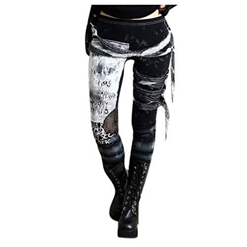 cinnamou Damen Gotische Hosen Frauen Punk Hosen coolen Ultra erfassten Hosen Gothic Rocker Distressed Tie Leggings Retro Street Hose