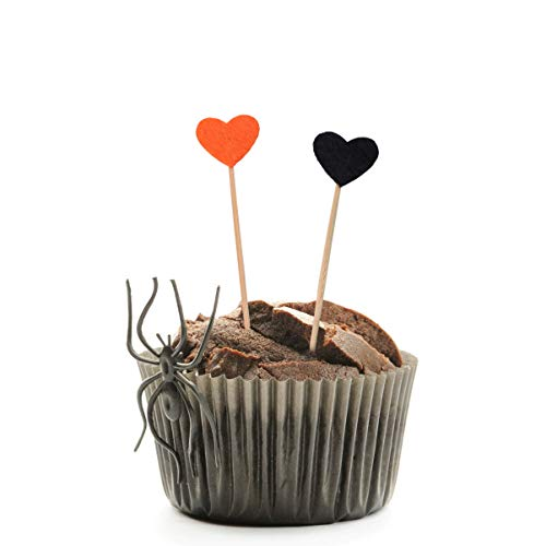 EXCEART Cupcake Toppers Halloween Love Heart Shape Design Cake Picks for Baby Shower Halloween Party Supplies 24pcs/Pack -  Q9029IE11X10H