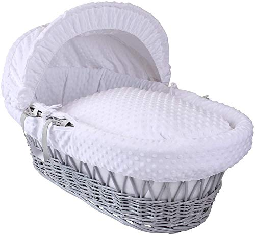 HTTER Grey Wicker Moses Basket,White,Clair de Lune Dimple Grey Wicker Moses Basket