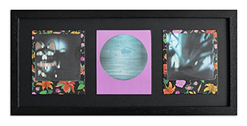 Pared Style Marco para Polaroid de imágenes Serie A850Negro, veteada Normal Cristal Incluye paspartú Negro para 3Polaroids