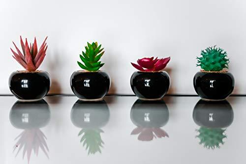 CasaDelGC - Juego de 4 plantas artificiales decorativas con piedras en cerámica esmaltada negras, ideal para decoración del hogar, oficina, jardín