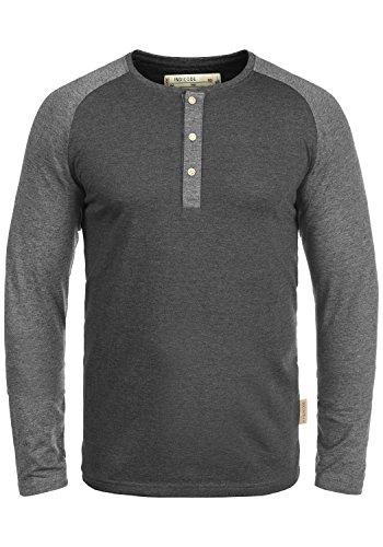 Indicode Winston Herren Longsleeve Langarmshirt Shirt Mit Grandad-Ausschnitt, Größe:L, Farbe:Charcoal Mix (915)