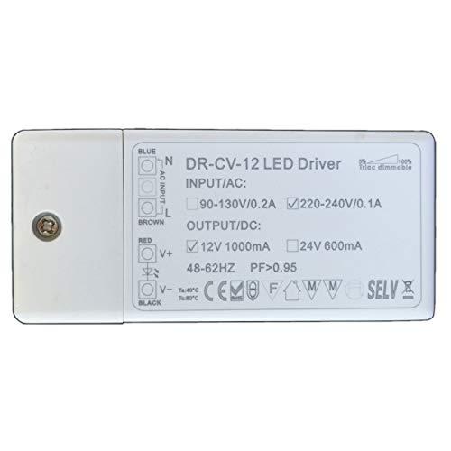 Dimmbarer LED Trafo 12V DC 1-12 Watt Netzteil dimmbar Treiber Transformator für Dimmer G4 MR16 GU5.3