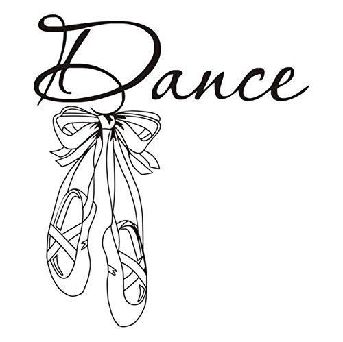 42X48 cm hermosos zapatos de ballet calcomanía de pared de vinilo calcomanías de sala de baile para niñas calcomanías de pared de arte mural para sala de bailarina