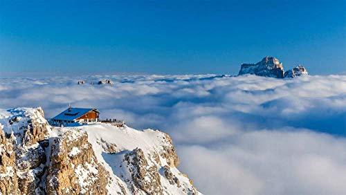 Puzzel Voor Volwassenen 300 Stukjes, Rifugio Lagazuoi Boven De Wolken Op De Achtergrond Van De Berg Permo, Dolomieten, Italië, Uniek Verjaardagscadeau