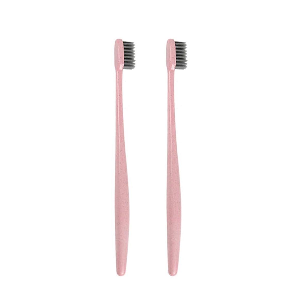 名詞手がかり血統TOPBATHY 子供と大人のための2本の柔らかい歯ブラシ天然竹炭歯ブラシ小さな頭の歯ブラシ(ピンク)