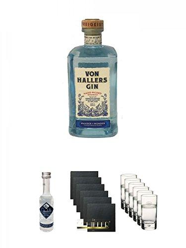 Von Hallers Gin 0,5 Liter + Citadelle Gin aus Frankreich 5 cl + Schiefer Glasuntersetzer eckig 6 x ca. 9,5 cm Durchmesser + The London No. 1 Longdrinkglas 6 Stück