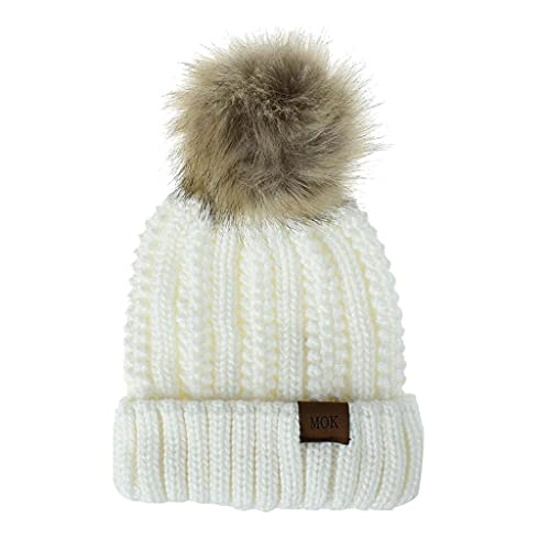 LULUZ Women's Classic Knit Hat Outdoor Keep Warm Cap Ladies Winter Solid Color Stylish Ski Hat Comforty Soft Cap Gift for Friend White
