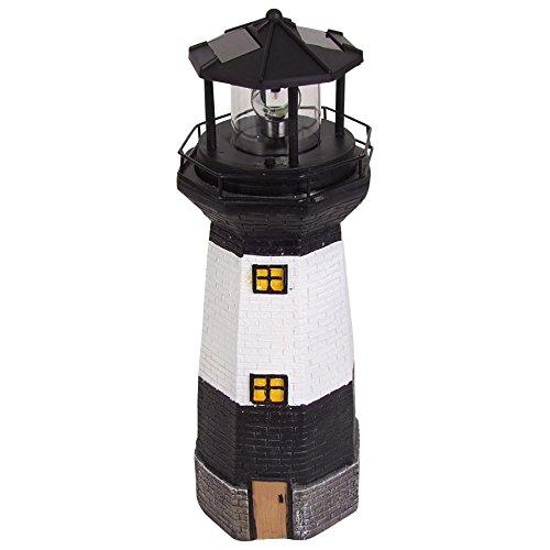 BURI Solar-Leuchtturm 38cm mit rotierendem LED-Licht Maritime Gartendeko Terrasse
