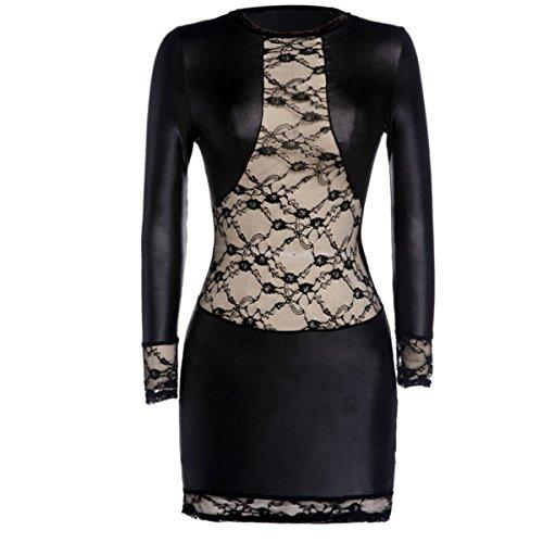 SSScok Frauen sexy Dessous Wetlook Leder Minikleid rückenfreie Clubwear Nachtwäsche