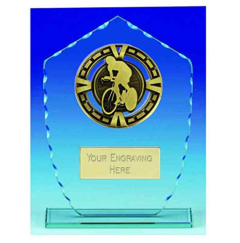 Womack Graphics KB020AC - Trofeo per Ciclismo, 16 cm, Giada e Oro Antico, con Incisione Gratuita Fino a 50 Lettere