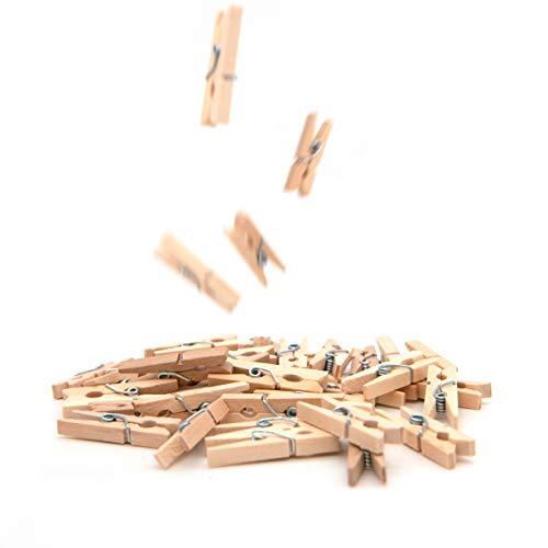 50x Mini-Holzklammern, ideal zum Verzieren und Basteln, Deko für Geschenke und Geschenktüten, Geeignet um kleine Fotos aufzuhängen, Wäscheklammern für Fotonetze und Namensschilder, Fotos; Größe: 35mm