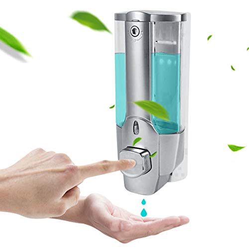 ROSEBEAR Dispensador de Jabón Líquido Montado en La Pared Dispensador de Desinfectante de Manos para Cocina Baño Hotel. (350 Ml de Plata)