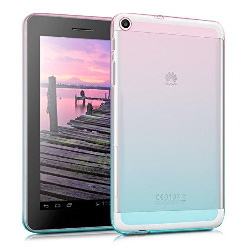 kwmobile Hülle kompatibel mit Huawei MediaPad T1 7.0 - Silikon Tablet Cover Case Schutzhülle - Zwei Farben Pink Blau Transparent