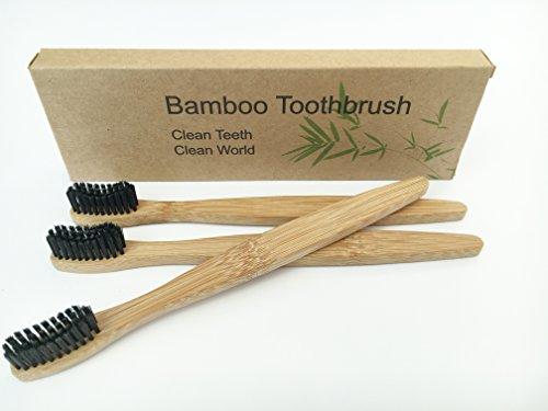 Spazzolino da denti con manico in legno di bambù e setole in fibre di bambù,100% riciclabile, ecologico, set di 3 pezzi
