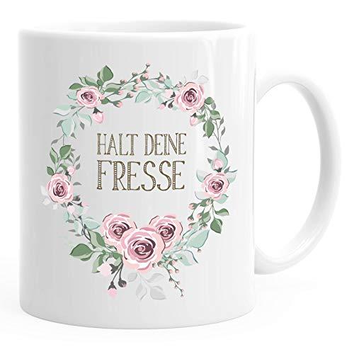 Kaffee-Tasse Schimpfwörter Beleidigung Ironie Geschenk-Tasse lustige Büro-Tasse MoonWorks® Halt deine Fresse weiß unisize