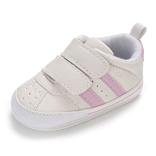 MK Matt Keely - Zapatillas de bebé con suela suave antideslizante para primeros caminantes, para bebé y niña, entrenadores prewalker rosa Tira rosa. Talla:6-12 meses