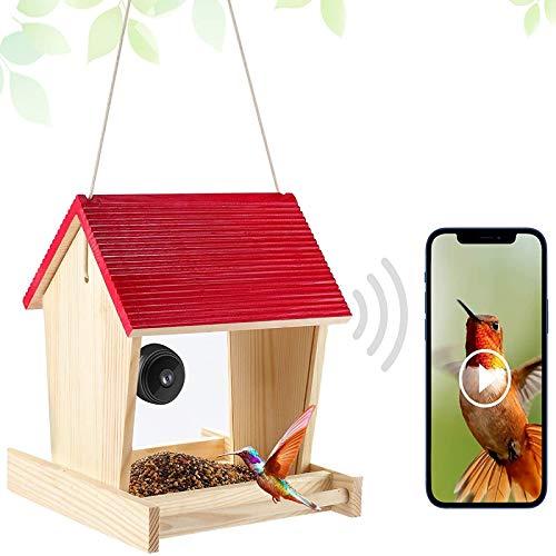 Vogel-Feeder-Kamera, Vogel-Feeder-Haus mit spionierter magnetischer WLAN-Kamera 1080p (TF-Karte inklusive) für Outdoor-Vogelbeobachtung, Capture-Fotos, kompatibel mit dem Handy (No TF Card)