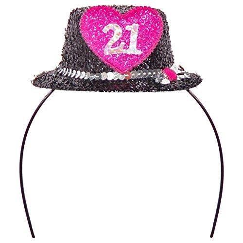 Folat Serre-tête Diadème Mini Chapeau Numéro 21 Noir Rose