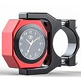 全3色 温度計付き アナログ時計 バイク オートバイ 自転車 用 夜光 防水 説明書 付き (赤 (レッド))